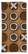 Tic Tac Toe Wooden Board Generated Seamless Texture Beach Towel