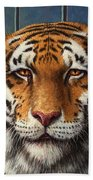 Tiger In Trouble Beach Towel by James W Johnson