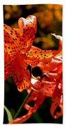 Tiger Lilies Beach Towel by Rona Black
