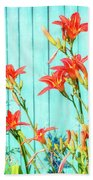 Tiger Lily And Rustic Blue Wood Beach Towel