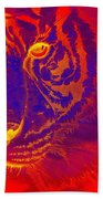 Tiger On Fire Beach Towel