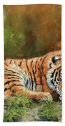 Tiger Repose Beach Towel