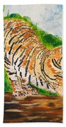 Tiger Stretching Beach Towel