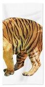 Tiger White Background Beach Towel