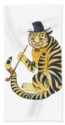 Tiger With Pipe Beach Towel