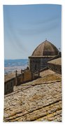 Tile Roof Tops Of Volterra Italy Beach Towel