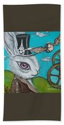 Time Flies For The White Rabbit Beach Towel
