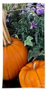 Time For Pumpkins In The Flower Beds Beach Towel
