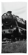 Time Travel By Steam B/w Beach Towel by Martin Howard