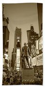 Times Square Ny Overlooking The Square Sepia Beach Towel