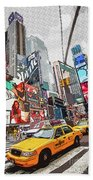 Times Square Pop Art Beach Towel
