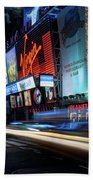 Times Square With Light Trail Beach Towel