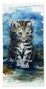 Timid Kitten Beach Towel