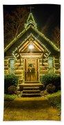 Tiny Chapel With Lighting At Night Beach Towel
