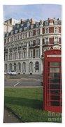 Titanic Hotel And Red Phone Box Beach Towel