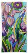 Pink Floral On Blue Beach Towel