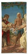 Tobias Brings His Bride Sarah To The House Of His Father Tobit Beach Towel