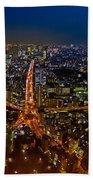 Tokyo At Night Beach Towel