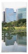 Tokyo Skyline Reflection Beach Towel