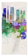 Tokyo V3 Skyline In Watercolor Background Beach Towel