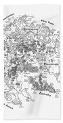 Tolkien Style Map Of Snowflakes Beach Towel