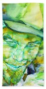 Tom Waits - Watercolor Portrait.5 Beach Towel
