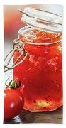 Tomato Jam In Glass Jar Beach Sheet