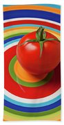 Tomato On Plate With Circles Beach Towel by Garry Gay