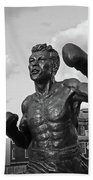 Tony Demarco Boxer Statue North End Boston Ma Sunset Black And White Beach Towel