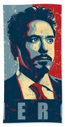Tony Stark Beach Towel by Caio Caldas