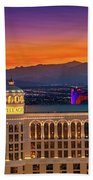 Top Of The Bellagio After Sunset Beach Towel