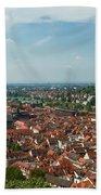 Top View Of Heidelberg, Germany. Beach Towel