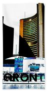 Toronto City Hall Graphic Poster Beach Towel
