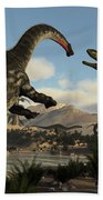 Torvosaurus And Apatosaurus Dinosaurs Fighting - 3d Render Beach Towel