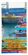 Tour Boats In Port Of Valparaiso-chile Beach Towel