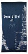 Tour Eiffel Engineering Blueprint Beach Towel