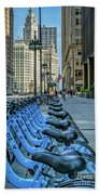 Towards Wrigley Building Beach Towel