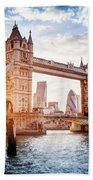 Tower Bridge In London, The Uk At Sunset. Drawbridge Opening Beach Towel
