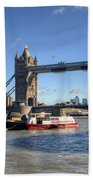 Tower Bridge With Canary Wharf In The Background Beach Towel