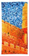 Tower Of David At Night Jerusalem Original Palette Knife Painting Beach Towel