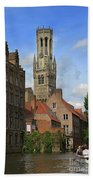 Tower Of The Belfrey From The Canal At Rozenhoedkaai Beach Towel