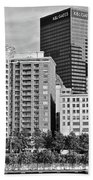 Tower Over Pittsburgh In Black And White Beach Towel