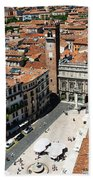 Tower View Of Piazza Delle Erbe In Verona Italy Beach Towel