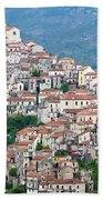 Town Clinging To A Hill Top In Southern Italy Beach Towel