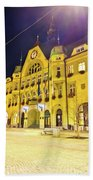Town Of Ptuj Historic Main Square Evening View Beach Towel