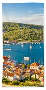 Town Of Vis Panorama From Hill Beach Towel