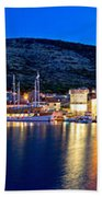Town Of Vis Waterfront Evening Panorama Beach Towel