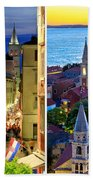 Town Of Zadar Evening And Sunset Travel Collage Beach Towel