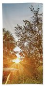 Tractor At Sunset Beach Towel