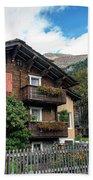 Traditional Swiss Alps Houses In Vals Village Alpine Switzerland Beach Towel